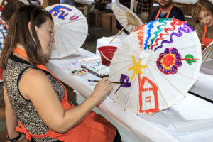 Parasol painting class at Workmanship Demonstration Pavilion in Hangzhou, China.